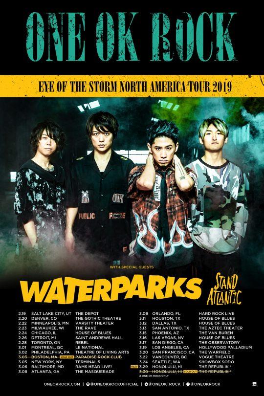 """ワンオク「NORTH AMERICAN TOUR 2019」2月より北米""""Eye Of The Storm""""ツアースタート!【ONE OK ROCK】ファンブログ"""