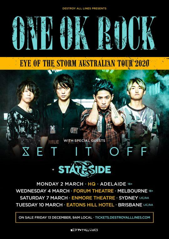 ワンオク オーストラリア ライブツアー「EYE OF THE STORM AUSTRALIAN TOUR 2020」開催【ONE OK ROCK】ファンブログ